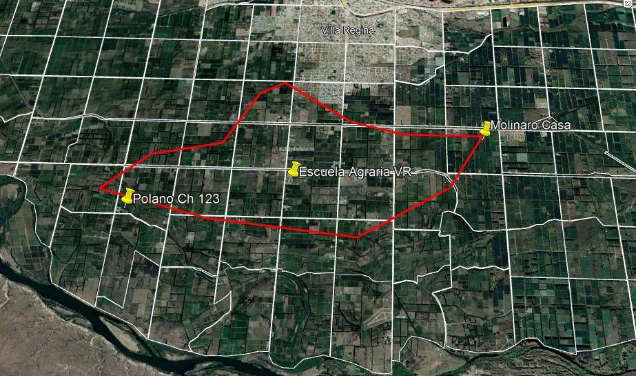 Mapa realizado por el INTA Villa Regina de la zona afectada por el granizo